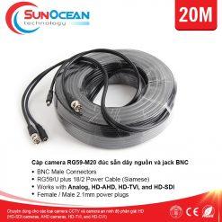 Cáp camera Golden Link RG59-M20 đúc sẵn nguồn và Jack BNC 20M